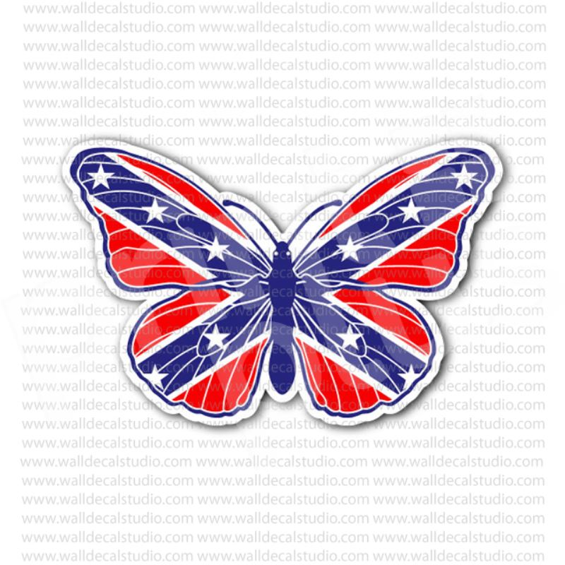 Rebel Confederate Butterfly Flag Sticker