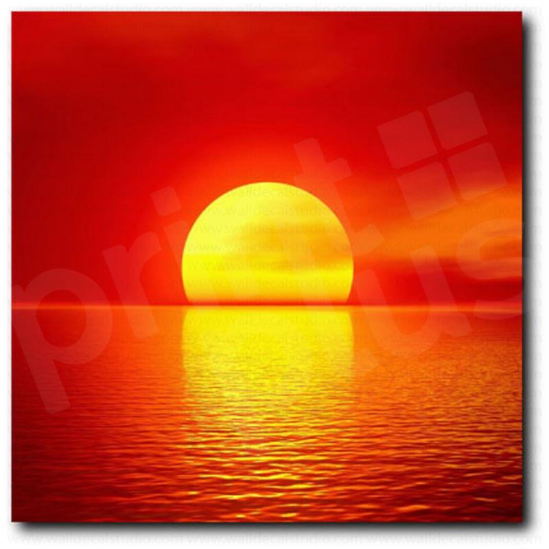 Red Sun Sunset On The Lake Wall Decor Giclee Art Canvas Print