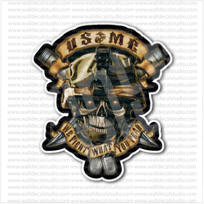 US MC Marine Corps Skull Soldier Sticker