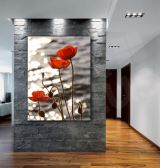 Red Poppies Flowers Lake Sunset Art Canvas Print