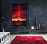 Red Sunset Clouds On Lake Canvas Giclee Art Print