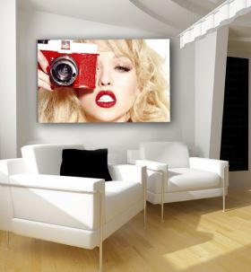 Blonde Photographer Red Lips Canvas Wall Art Decor