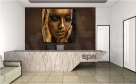 Golden Beauty Modern Face Canvas Giclee Art Print