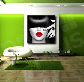 Red Lips Face Modern Canvas Wall Fine Art Print