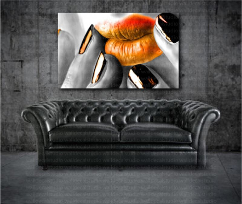Orange Lips Modern Canvas Home Wall Art Decor
