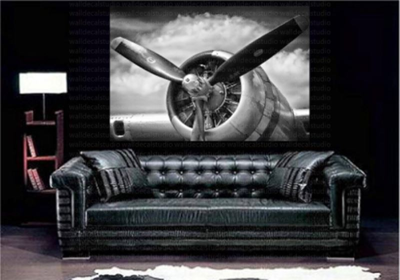 Print plus retro aircraft plane propeller canvas wall decor for Aircraft decoration