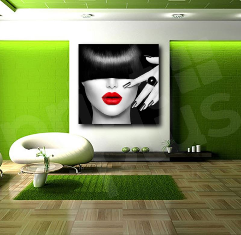 Red Lips Face Modern Canvas Home Fine Wall Art Prints Black White Print Decor