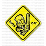 Back Off Skull with Gun Warning Sign Sticker