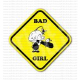Bad Girl Baseball Bat Sign Sticker