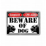 Beware Of The Dog Danger Peligro Sign Sticker