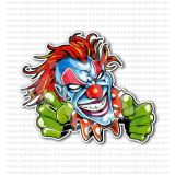 Blue Angry Evil Jester Fighting Fists Sticker