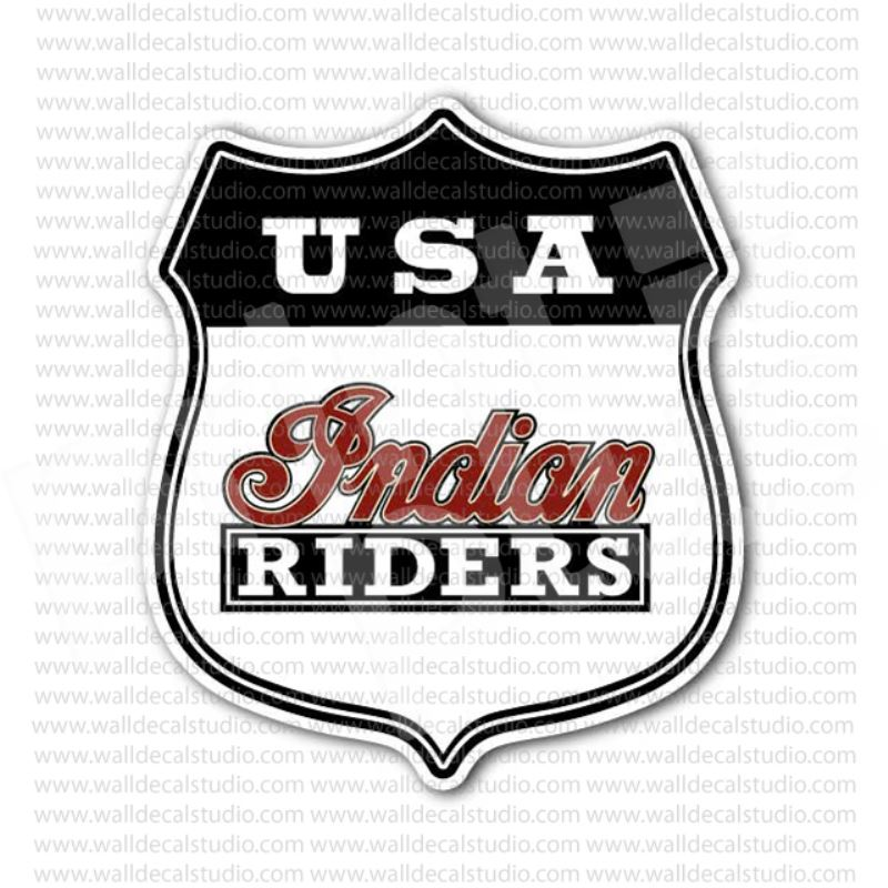 Usa indian riders motorcycle sticker