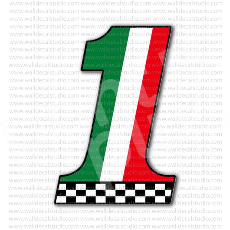 From 4 00 Buy Italian Flag Number 1 Racing Motorcycles Sticker At