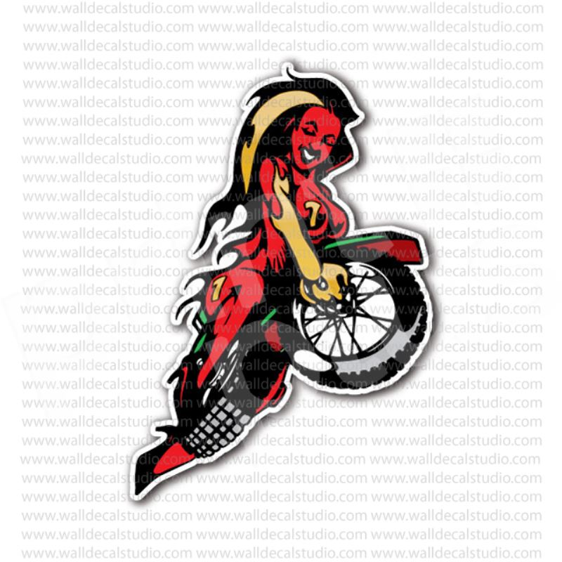 Flaming motorcycle moto girl sticker