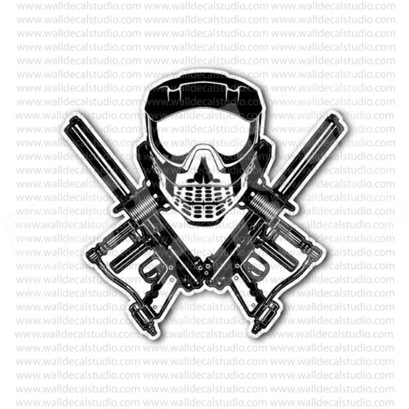 Paintball skull mask cross guns sticker