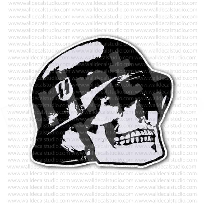 Skull german soldier nazi helmet sticker
