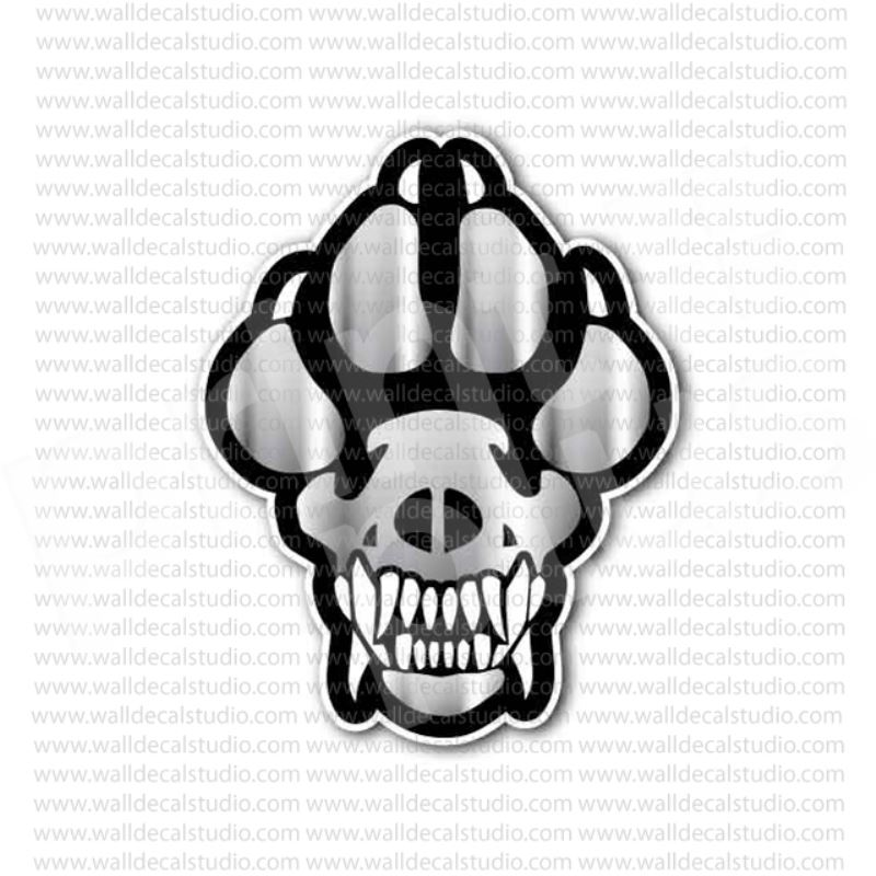From 4 00 Buy K9 Dog Paw Skull Sticker At Print Plus In