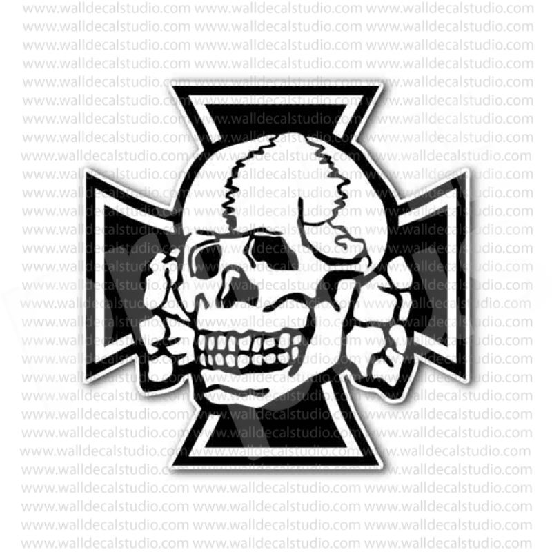 German nazi iron cross skull crossbones sticker