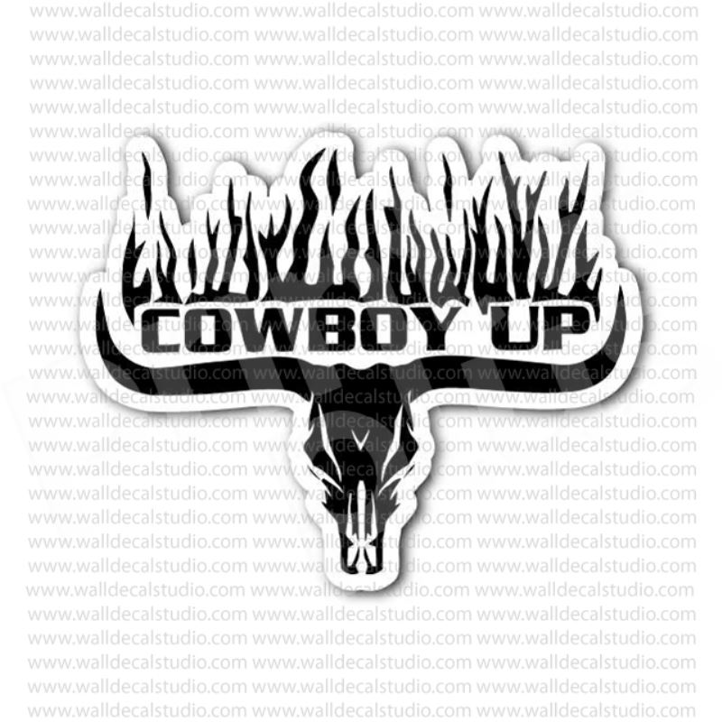 From 4 00 Buy Cowboy Up Bull Skull Sticker At Print Plus